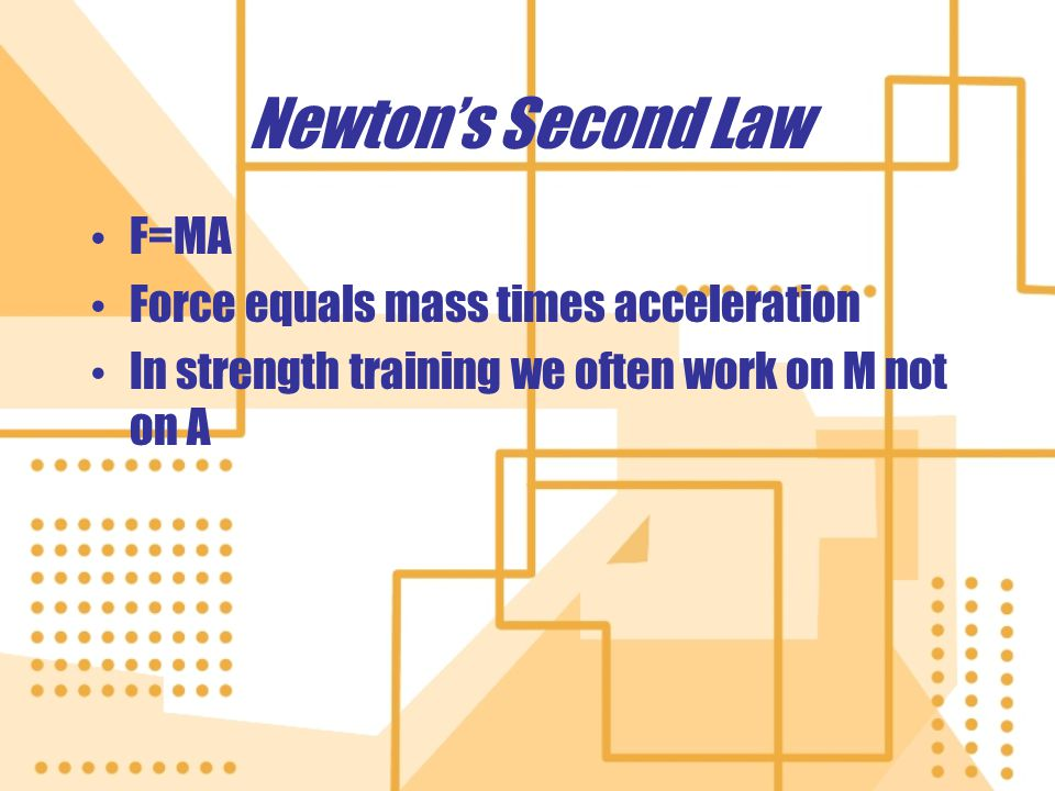 Newton's Second Law F=MA Force equals mass times acceleration