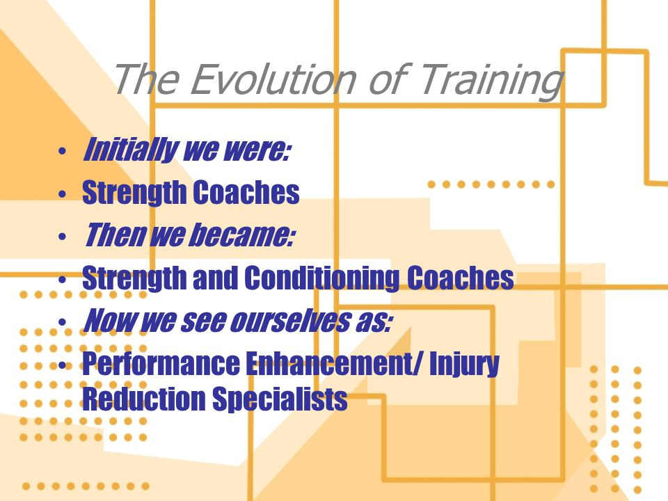 The Evolution of Training