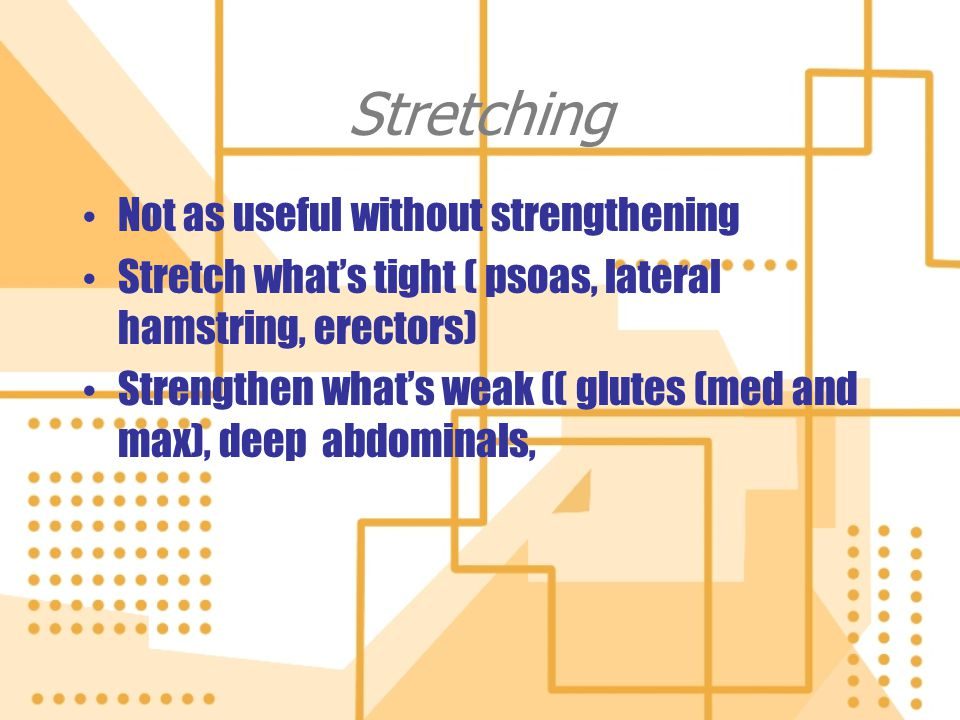 Stretching Not as useful without strengthening