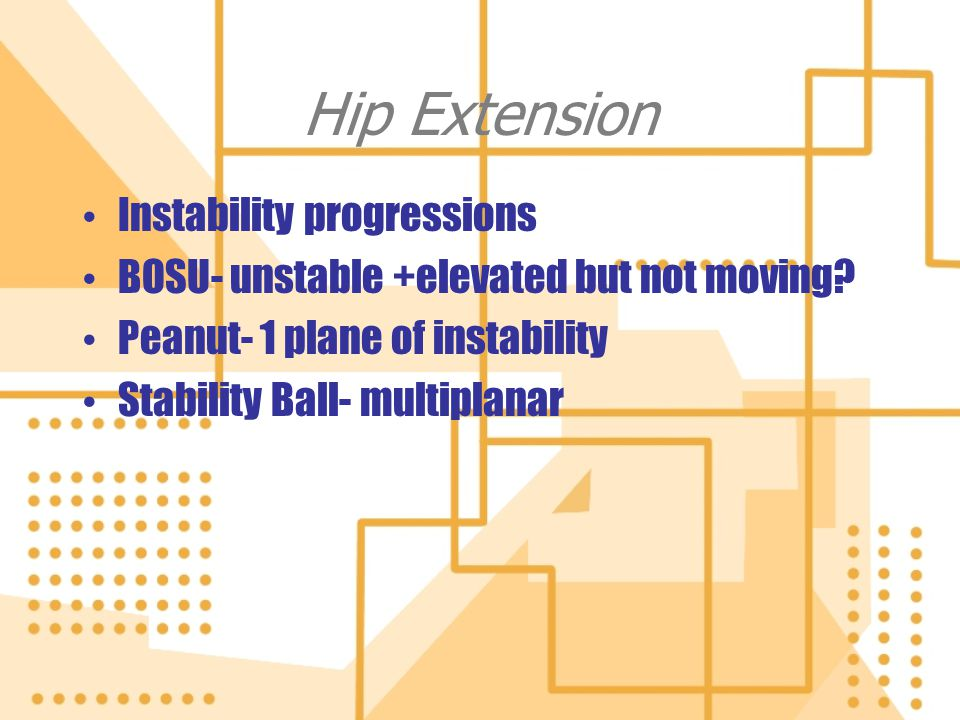 Hip Extension Instability progressions