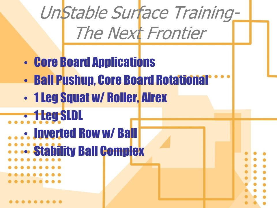 UnStable Surface Training- The Next Frontier