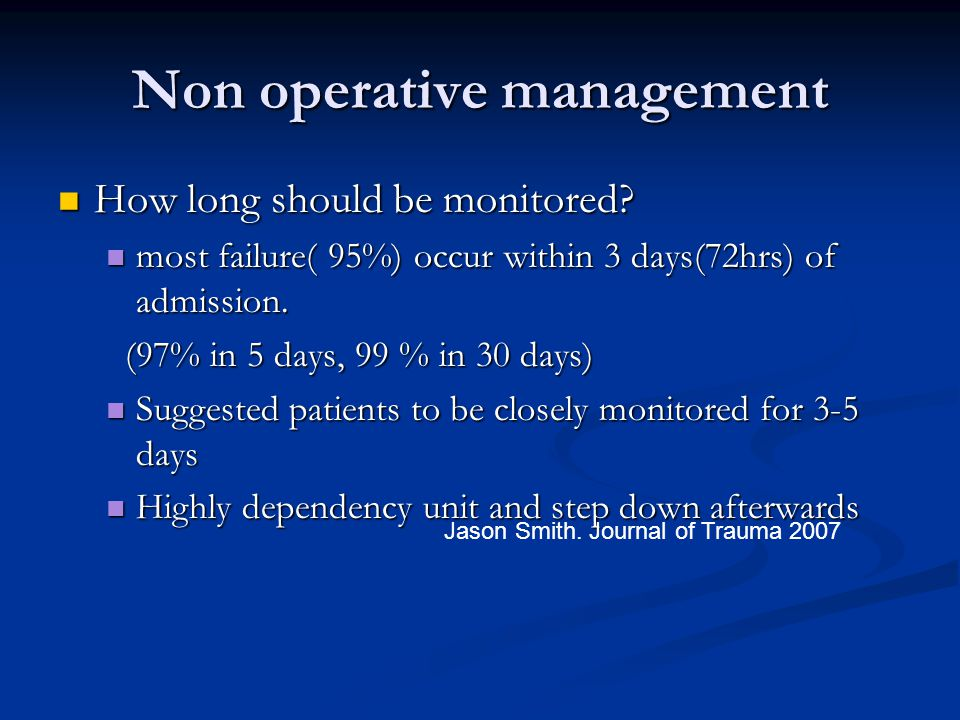 Non operative management