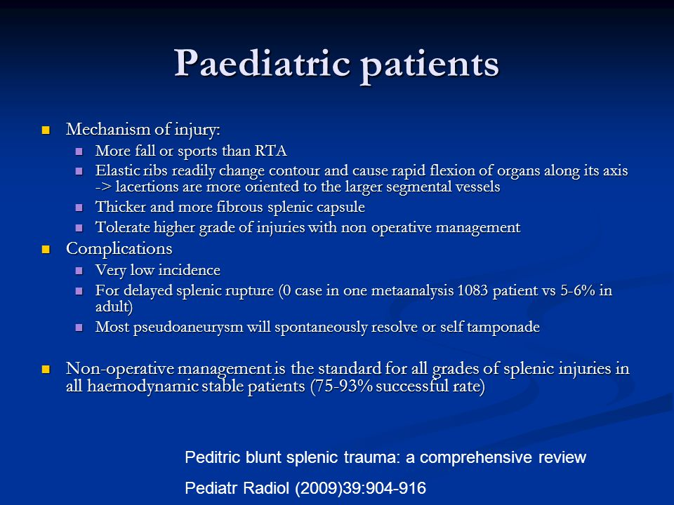 Paediatric patients Mechanism of injury: Complications