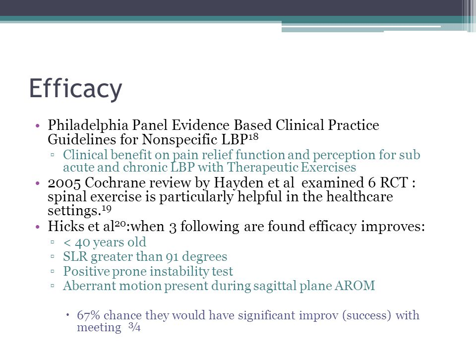 Efficacy Philadelphia Panel Evidence Based Clinical Practice Guidelines for Nonspecific LBP18.