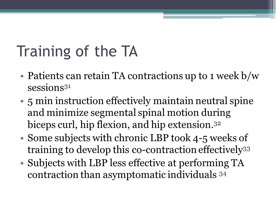 Training of the TA Patients can retain TA contractions up to 1 week b/w sessions31.