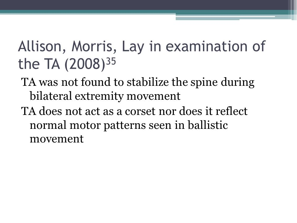 Allison, Morris, Lay in examination of the TA (2008)35