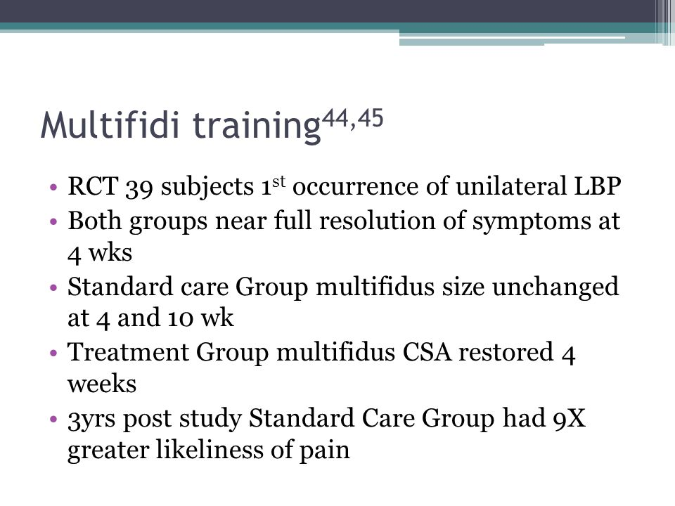 Multifidi training44,45 RCT 39 subjects 1st occurrence of unilateral LBP. Both groups near full resolution of symptoms at 4 wks.