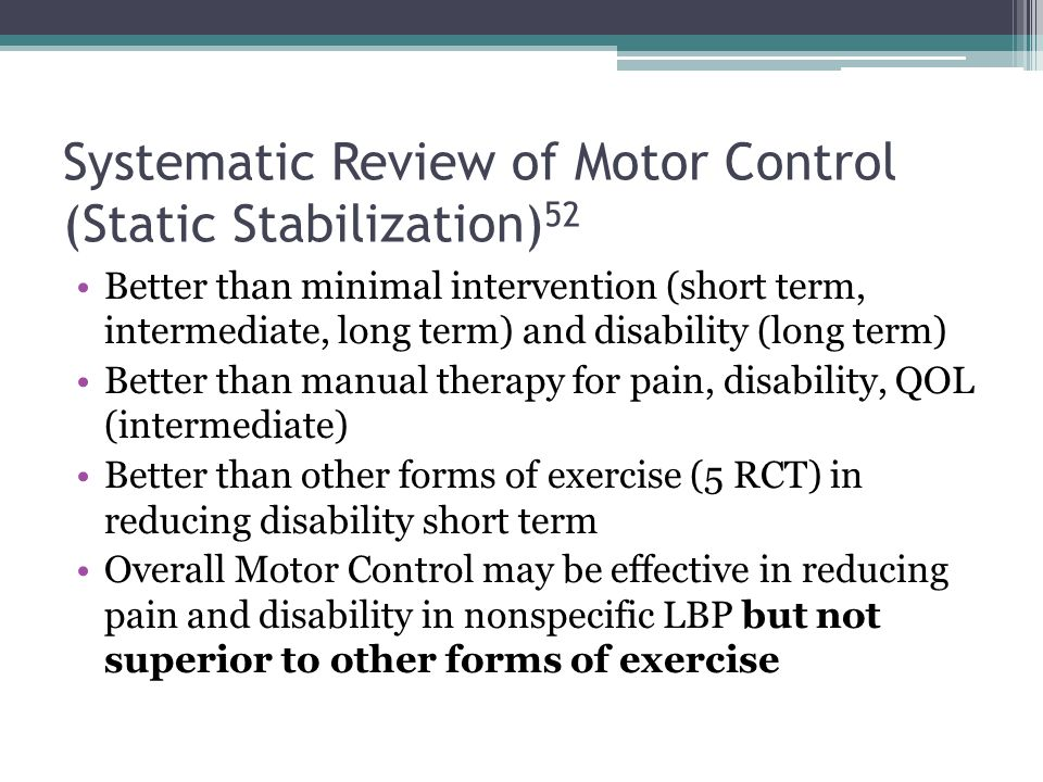 Systematic Review of Motor Control (Static Stabilization)52