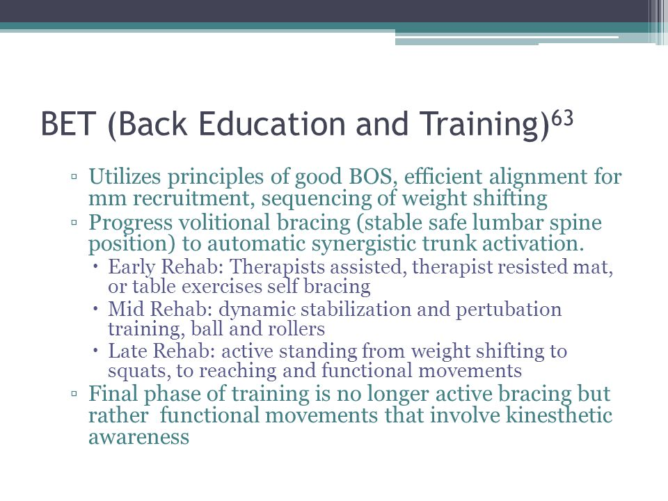 BET (Back Education and Training)63