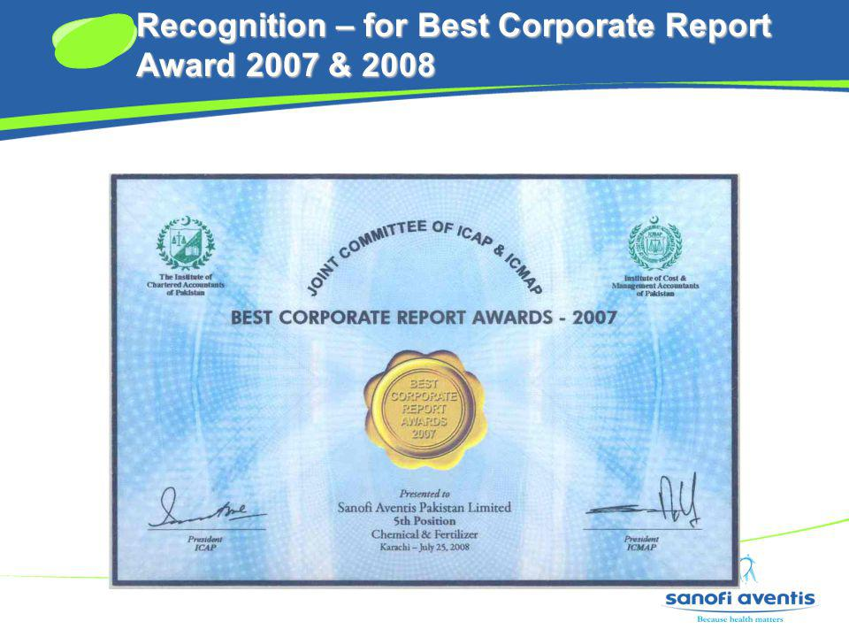 Recognition – for Best Corporate Report Award 2007 & 2008