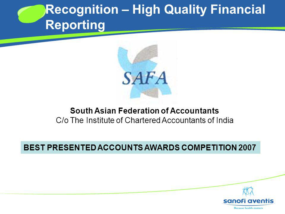 Recognition – High Quality Financial Reporting