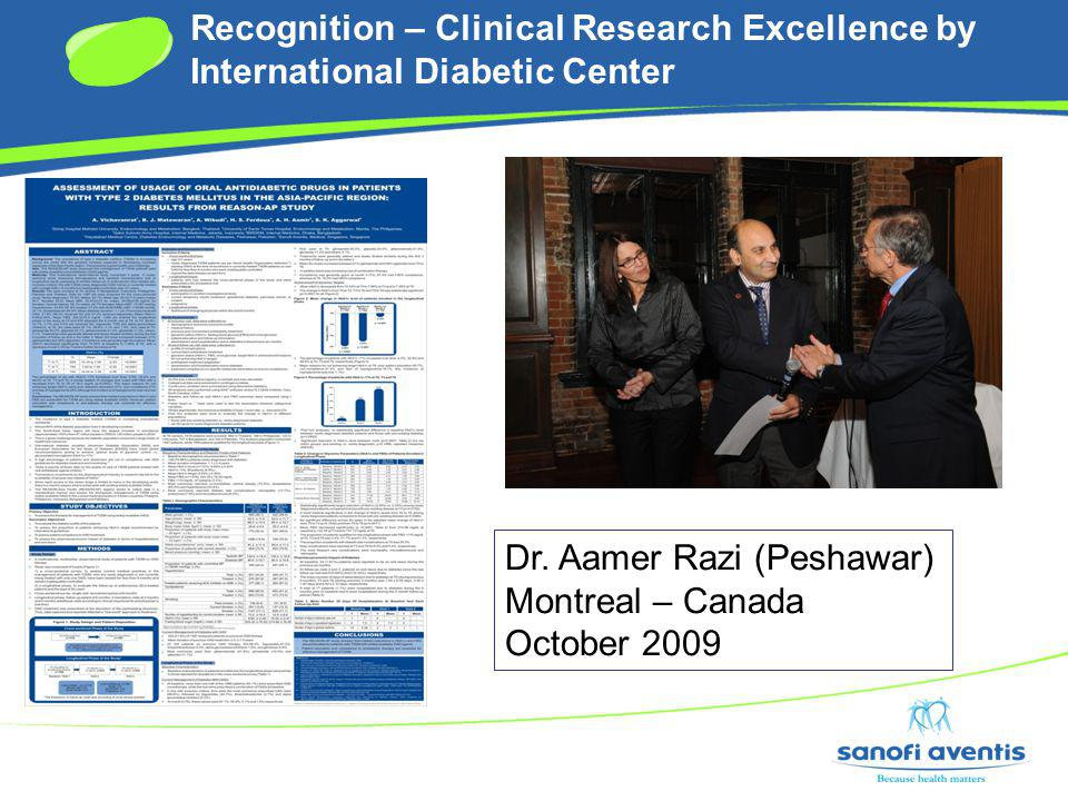 Recognition – Clinical Research Excellence by International Diabetic Center