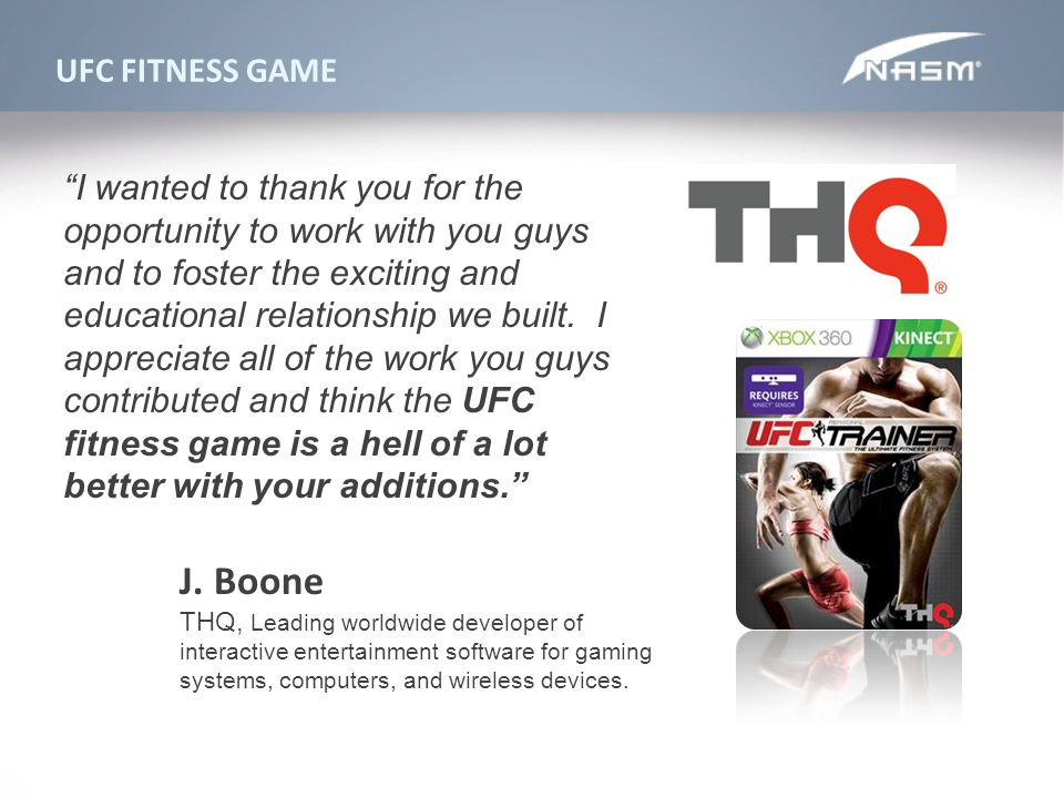 J. Boone UFC FITNESS GAME