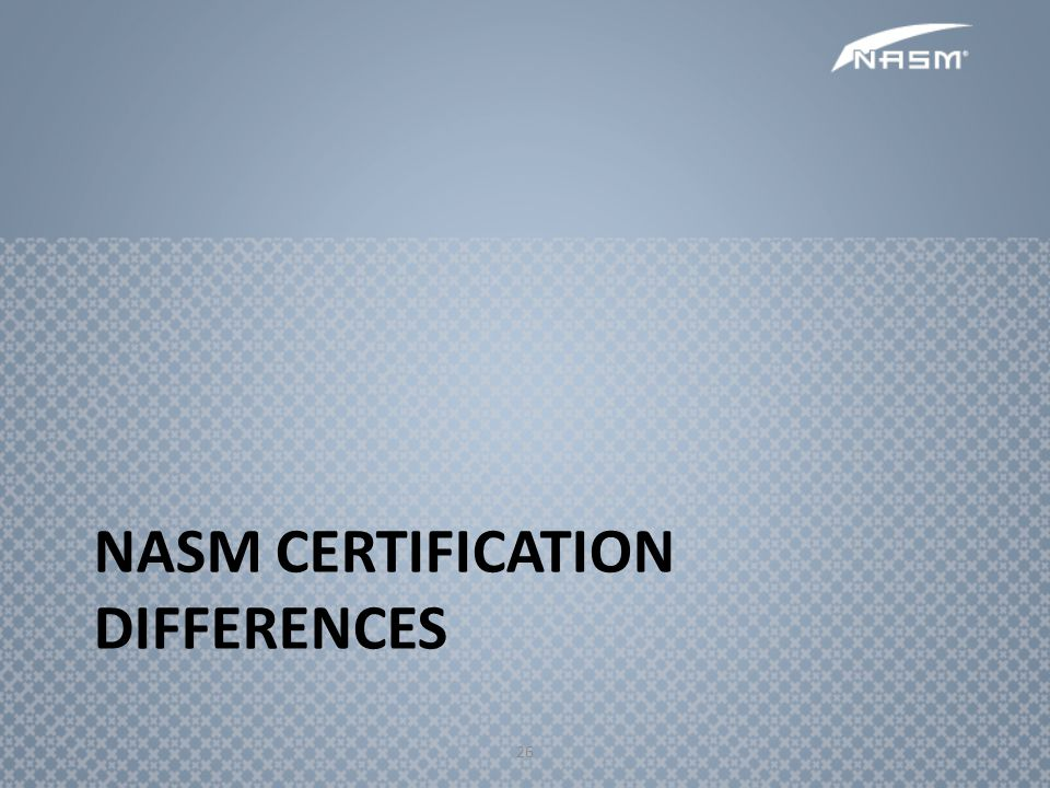 NASM Certification Differences