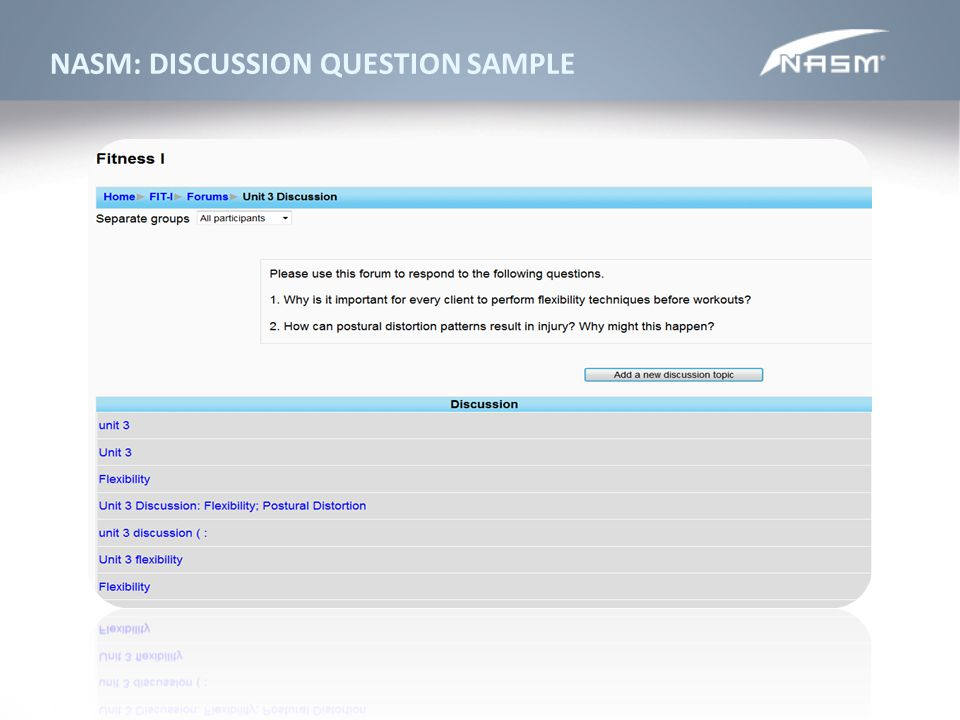 NASM: DISCUSSION QUESTION SAMPLE