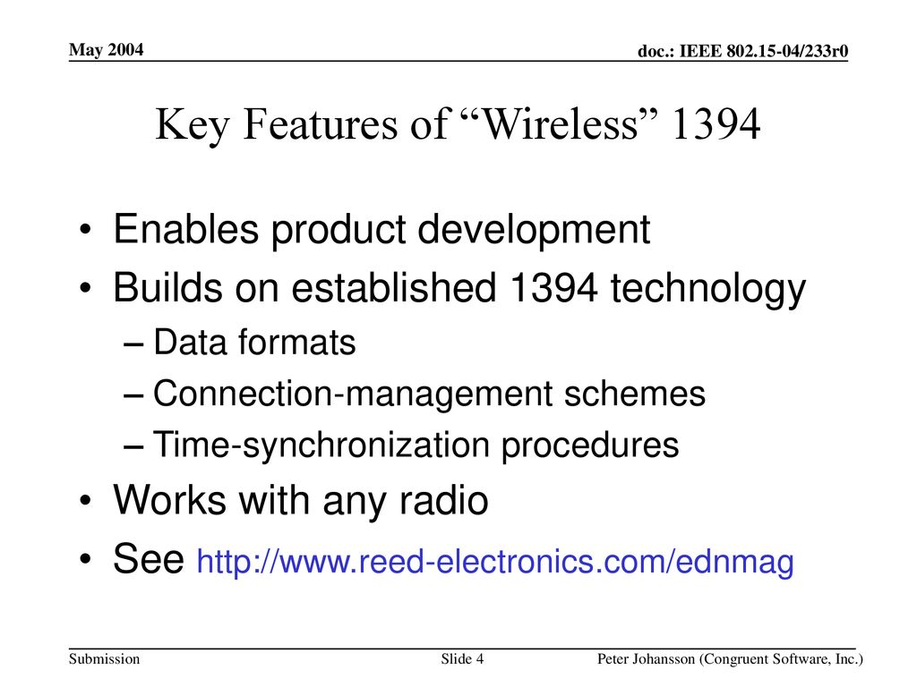 Key Features of Wireless 1394