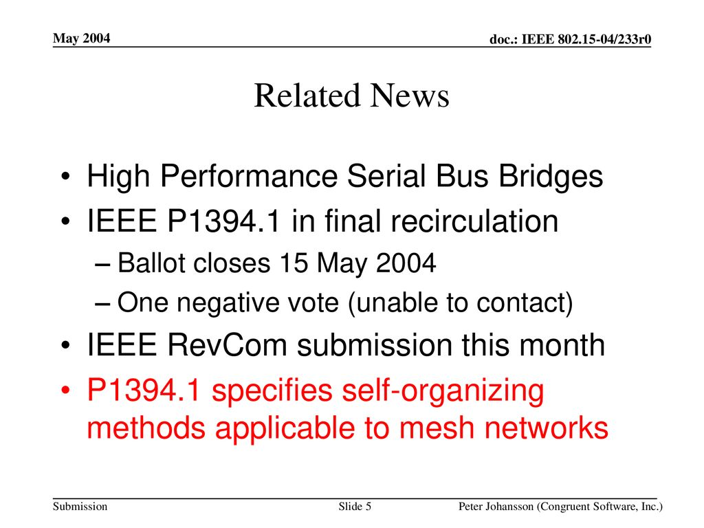 Related News High Performance Serial Bus Bridges