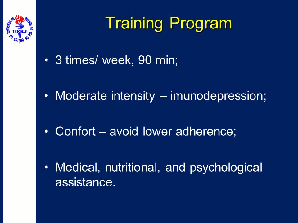 Training Program 3 times/ week, 90 min;