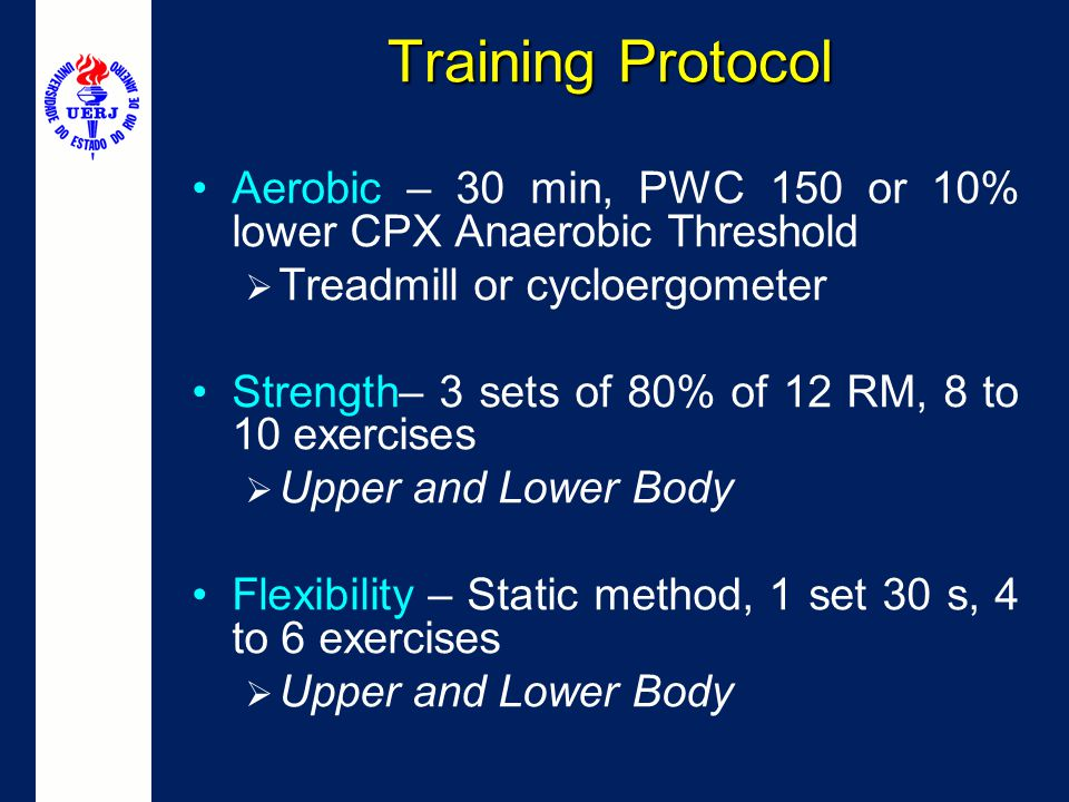 Training Protocol Aerobic – 30 min, PWC 150 or 10% lower CPX Anaerobic Threshold. Treadmill or cycloergometer.