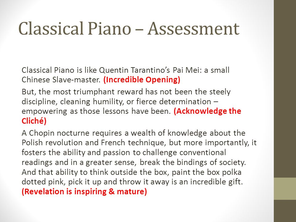 Classical Piano – Assessment