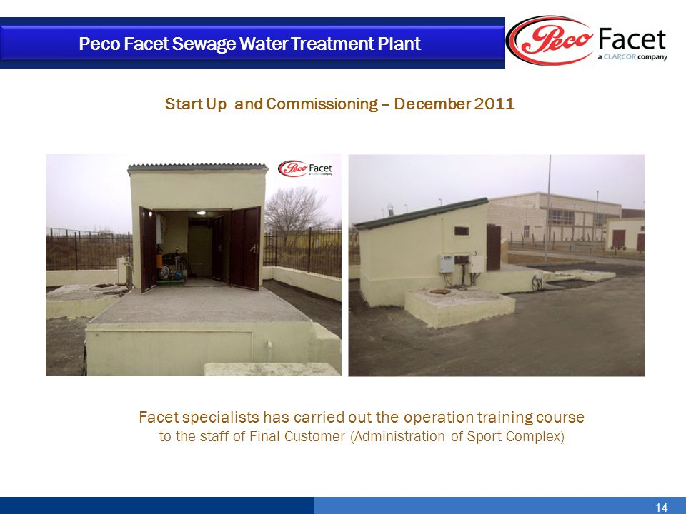 Start Up and Commissioning – December 2011