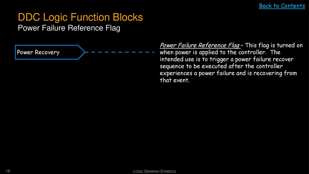 DDC Logic Function Blocks Power Failure Reference Flag