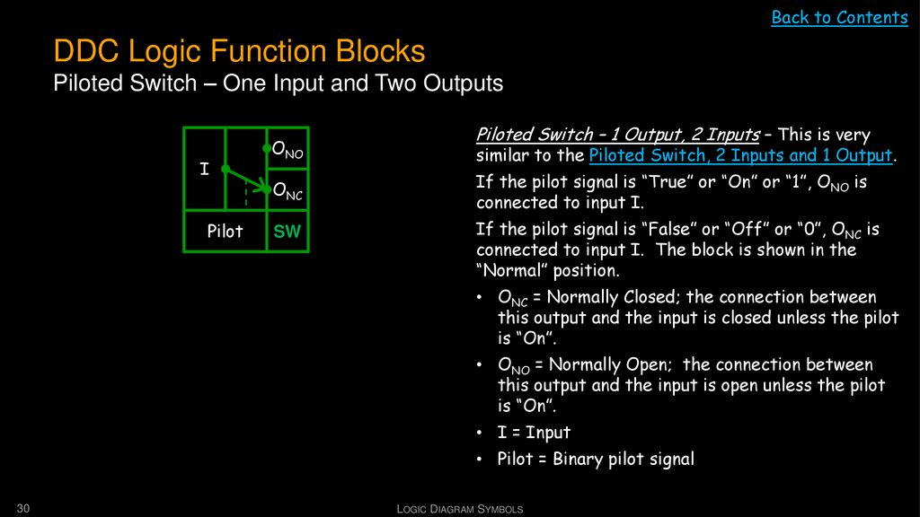 DDC Logic Function Blocks Piloted Switch – One Input and Two Outputs