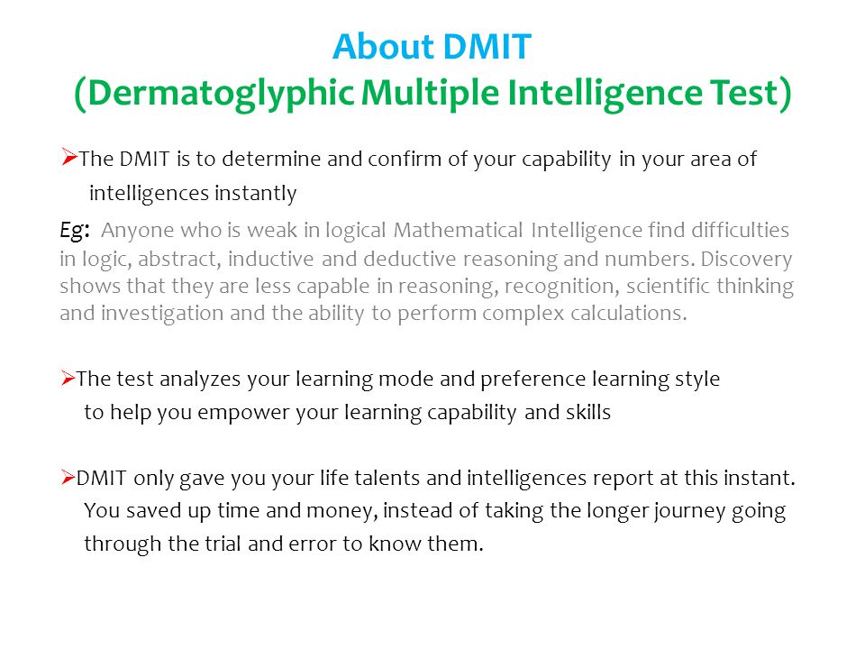 About DMIT (Dermatoglyphic Multiple Intelligence Test)