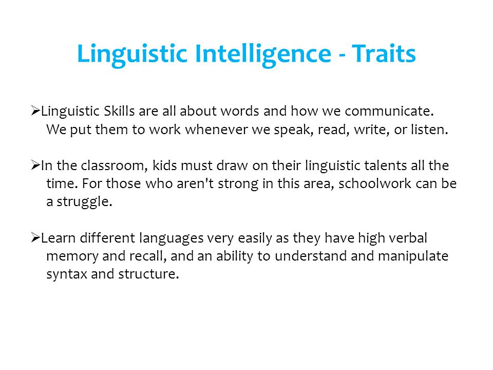 Linguistic Intelligence - Traits