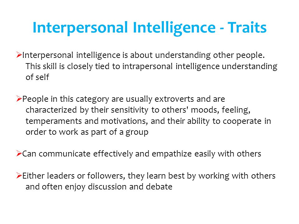 Interpersonal Intelligence - Traits