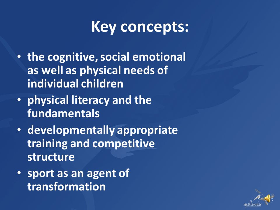 Key concepts: the cognitive, social emotional as well as physical needs of individual children. physical literacy and the fundamentals.