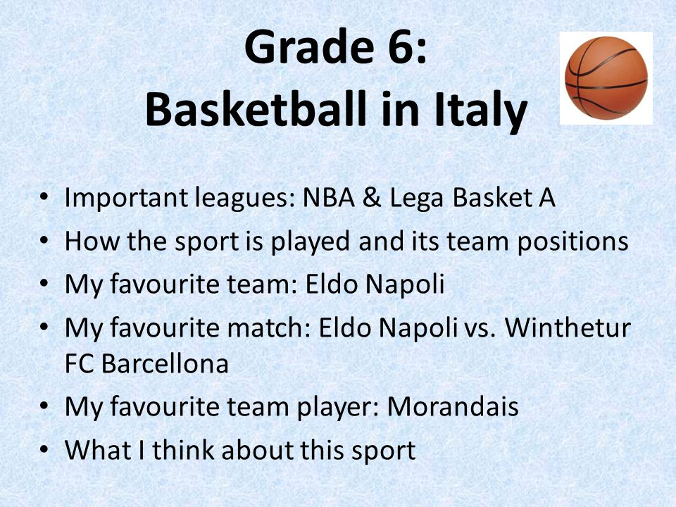 Grade 6: Basketball in Italy