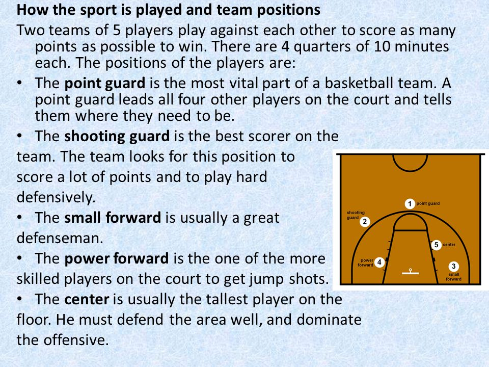 How the sport is played and team positions