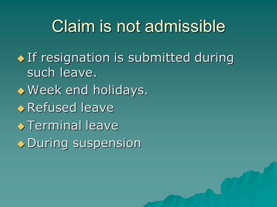 Claim is not admissible