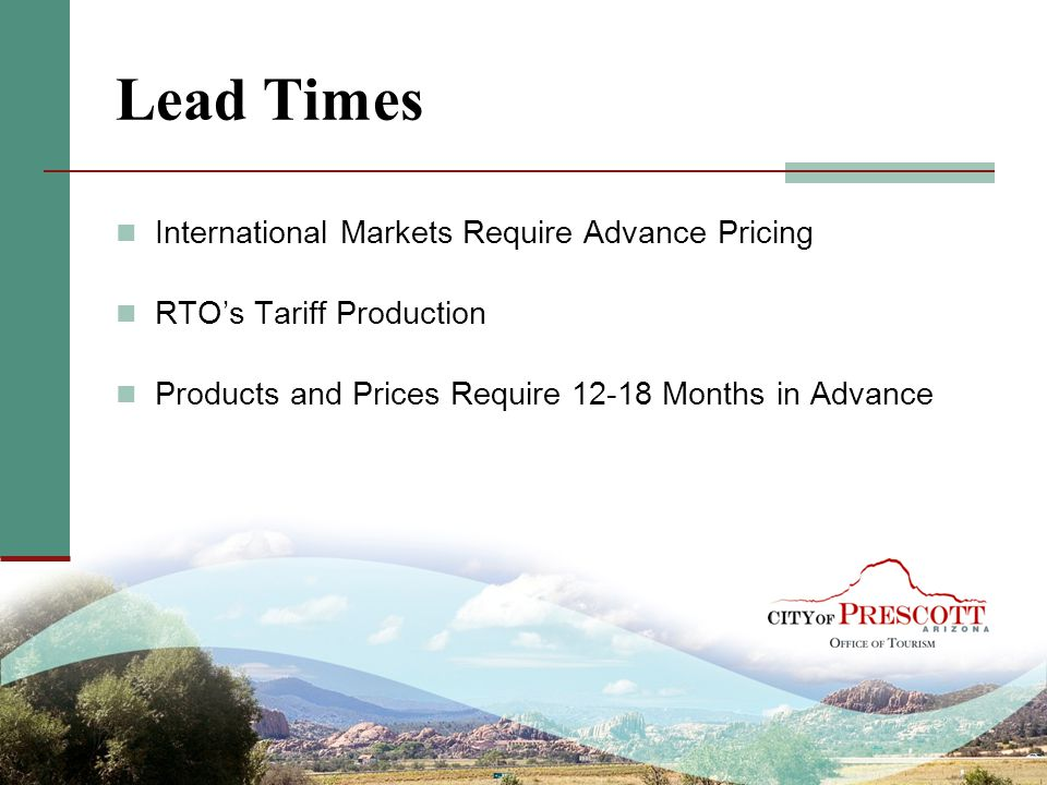 Lead Times International Markets Require Advance Pricing