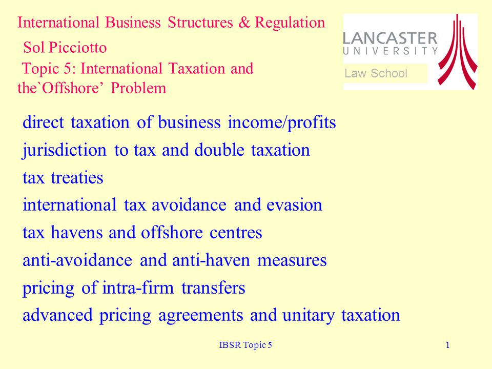 direct taxation of business income/profits
