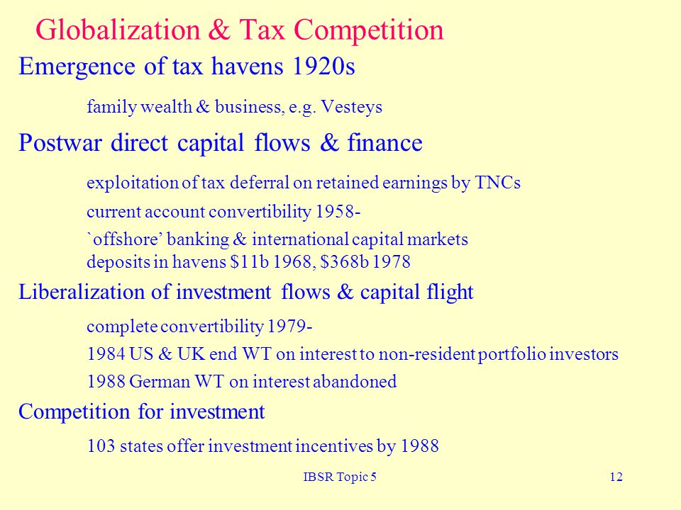 Globalization & Tax Competition