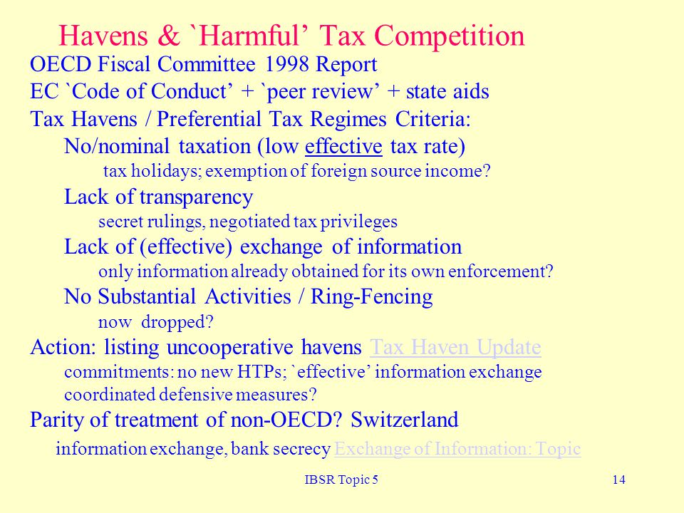 Havens & `Harmful' Tax Competition