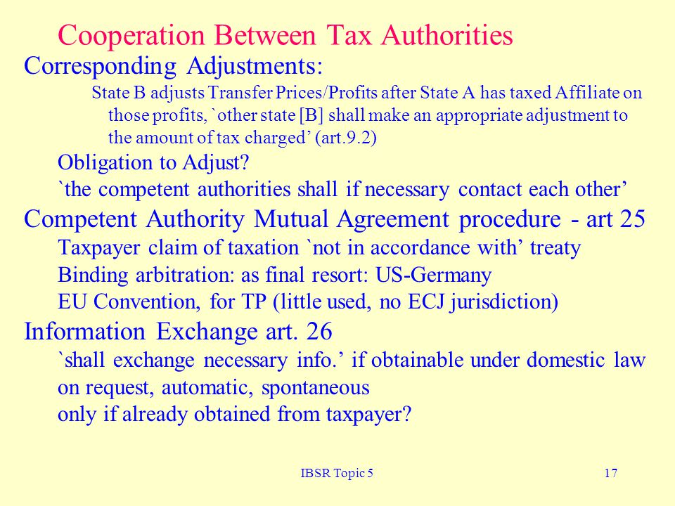 Cooperation Between Tax Authorities