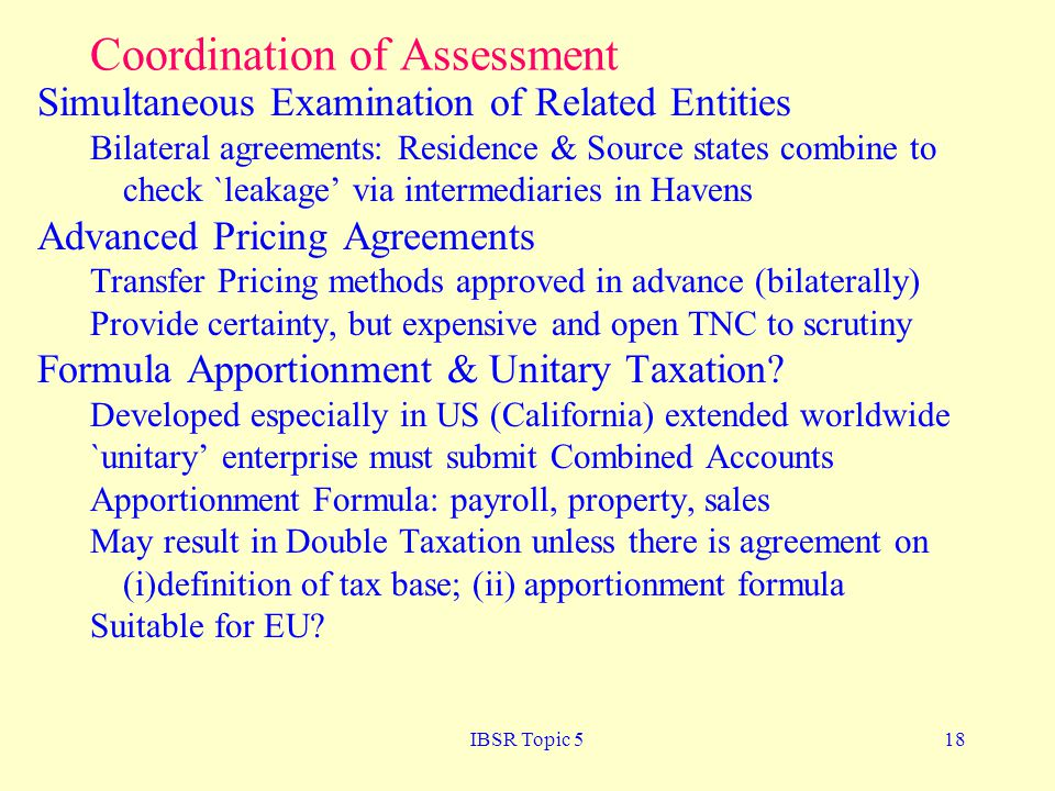Coordination of Assessment