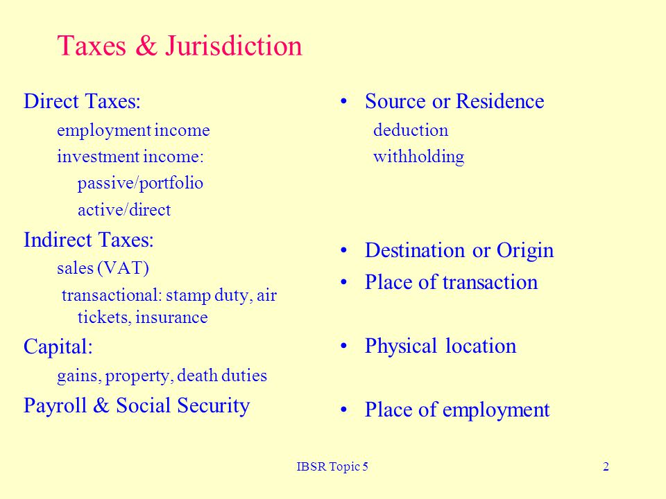 Taxes & Jurisdiction Direct Taxes: Indirect Taxes: Capital: