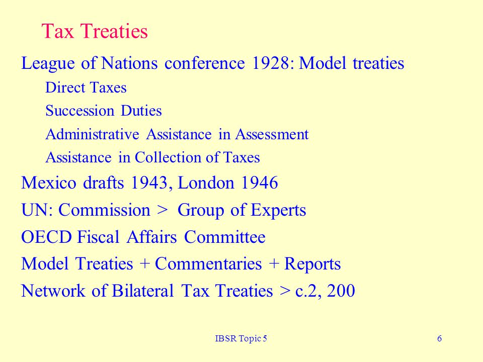 Tax Treaties League of Nations conference 1928: Model treaties