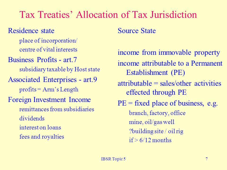 Tax Treaties' Allocation of Tax Jurisdiction