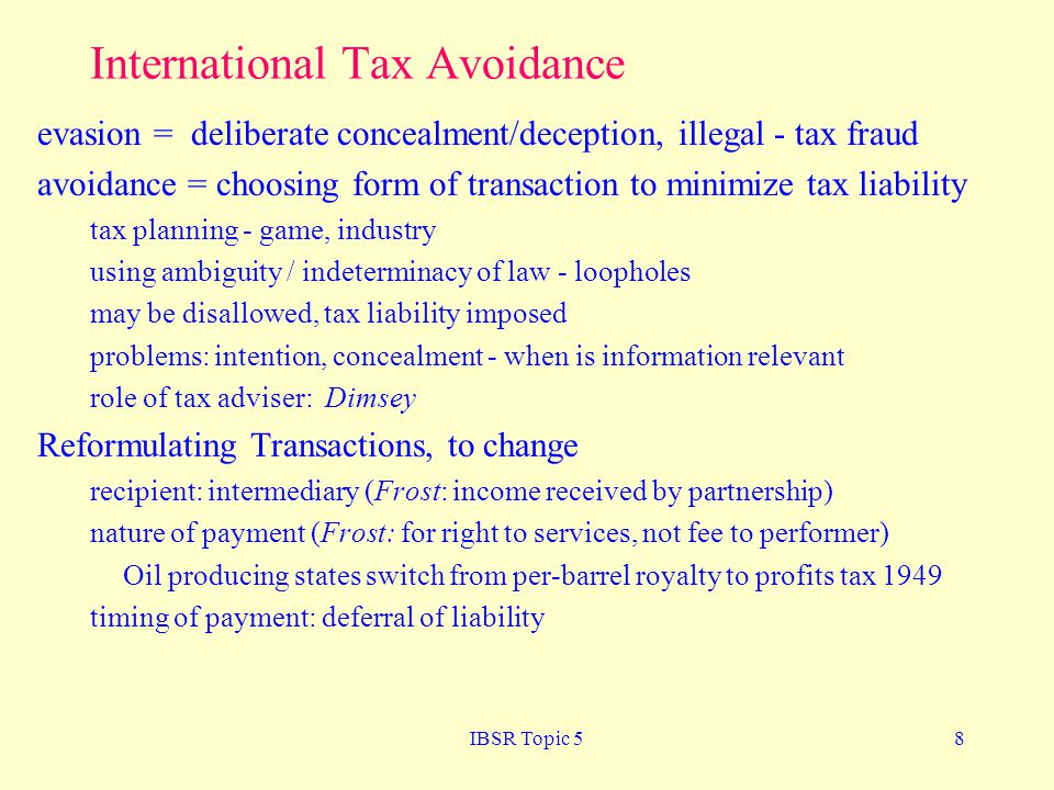 International Tax Avoidance