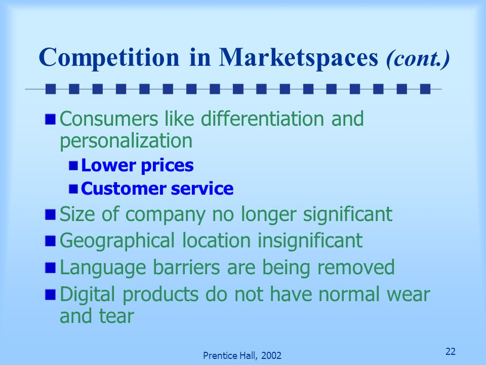 Competition in Marketspaces (cont.)