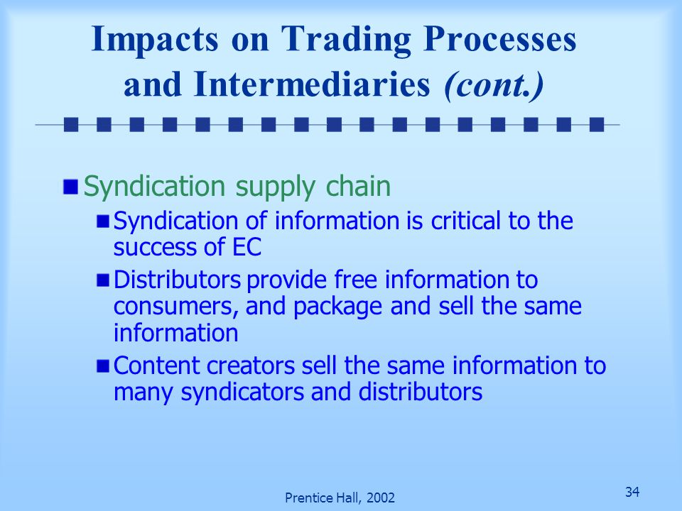 Impacts on Trading Processes and Intermediaries (cont.)