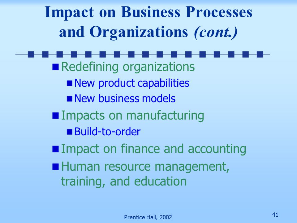 Impact on Business Processes and Organizations (cont.)