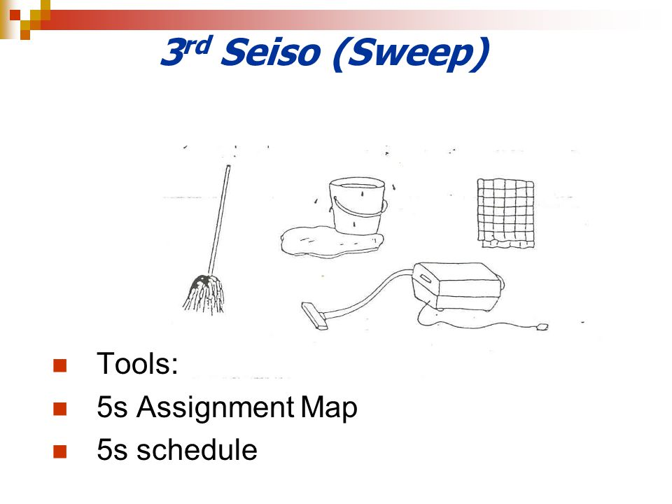 3rd Seiso (Sweep) Tools: 5s Assignment Map 5s schedule
