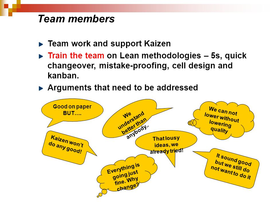 Team members Team work and support Kaizen