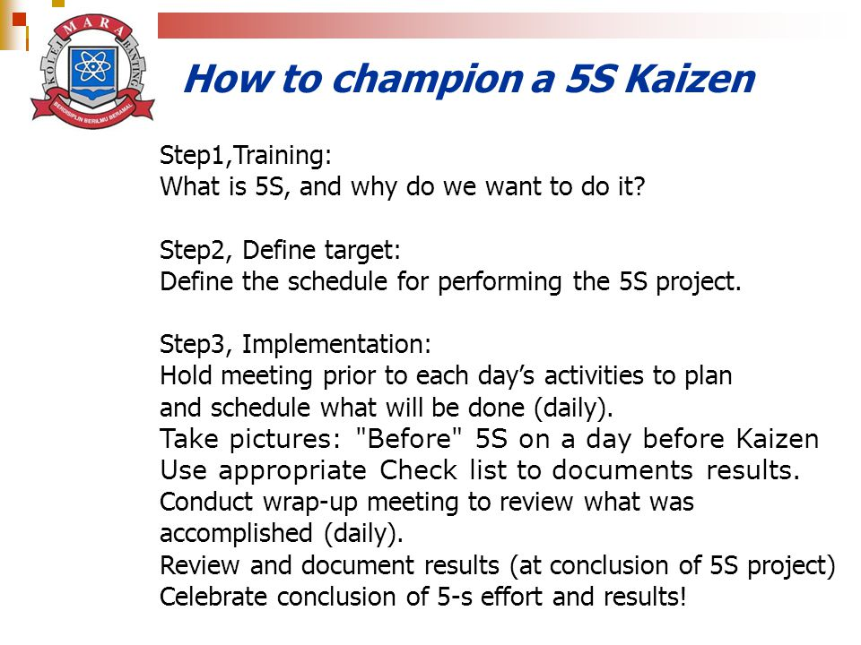 How to champion a 5S Kaizen